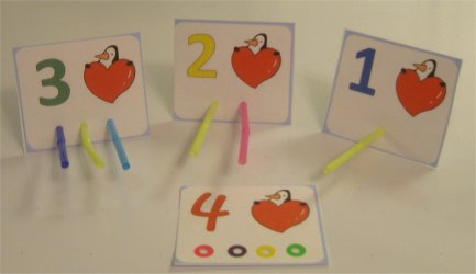 Match up straws by numbers, fine motor activity