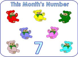 Preschool number 7 five display poster